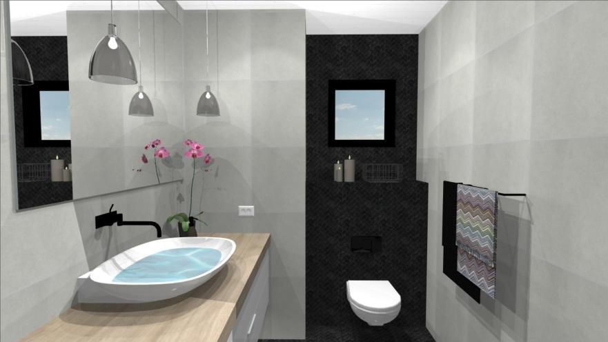 pienen wc:n sisustussuunnitelma, 3D kuva